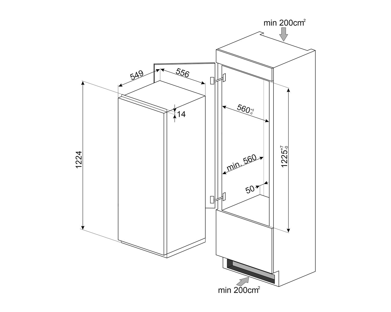 Maattekening SMEG koelkast inbouw S8C124DE