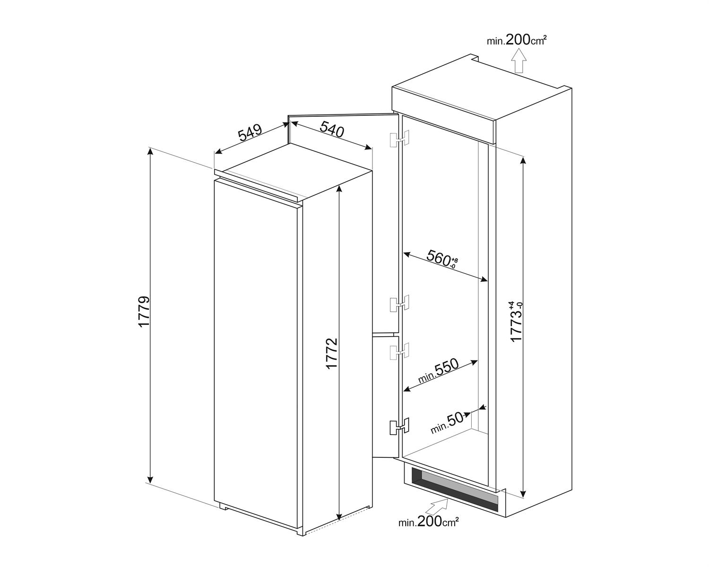 Maattekening SMEG koelkast inbouw S8L1721F