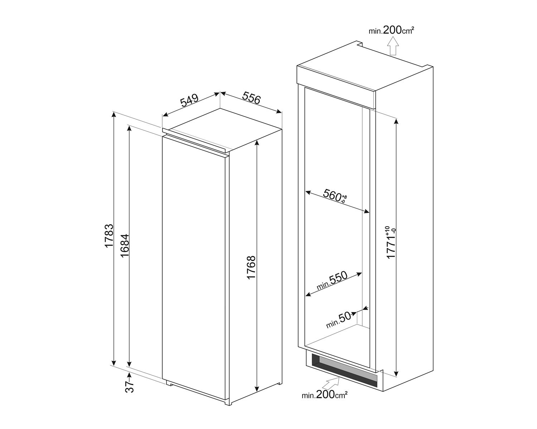 Maattekening SMEG koelkast inbouw S8L174D3E