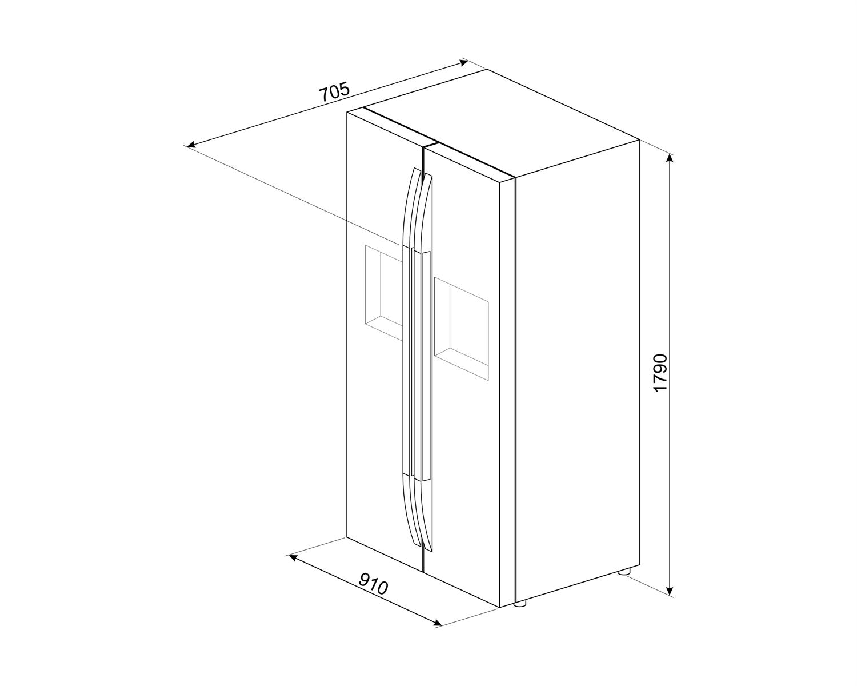 Maattekening SMEG side-by-side koelkast rvs-look SBS63XDF