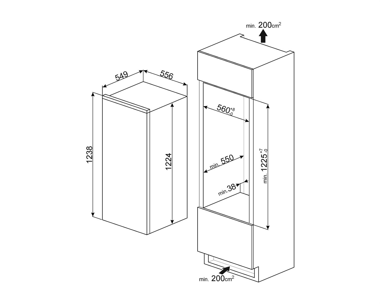 Maattekening SMEG koelkast inbouw SD7205SLD2P