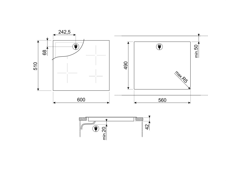 Maattekening SMEG kookplaat inductie inbouw SE364TD