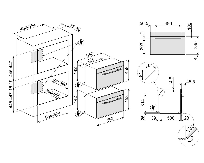 Maattekening SMEG oven met magnetron inbouw SF4101MCNO
