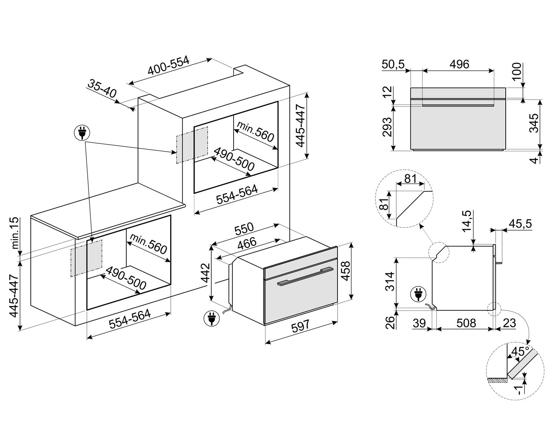 Maattekening SMEG stoomoven inbouw SF4102VS