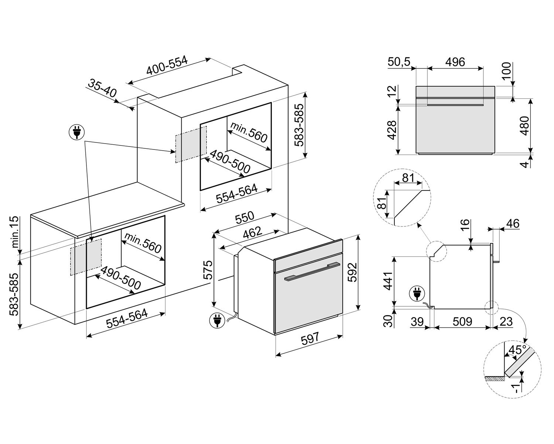 Maattekening SMEG oven inbouw zwart SF6101TVNO