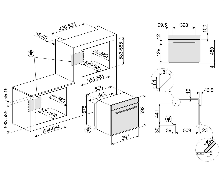 Maattekening SMEG oven inbouw rvs SFP6401TVX1