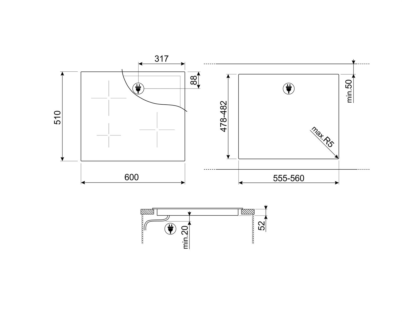 Maattekening SMEG kookplaat inductie inbouw SI2641D