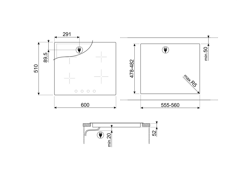 Maattekening SMEG kookplaat inductie inbouw SI264DM