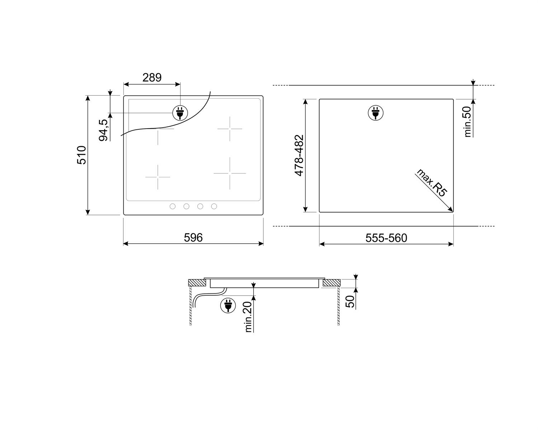 Maattekening SMEG kookplaat inductie inbouw SI364FXM