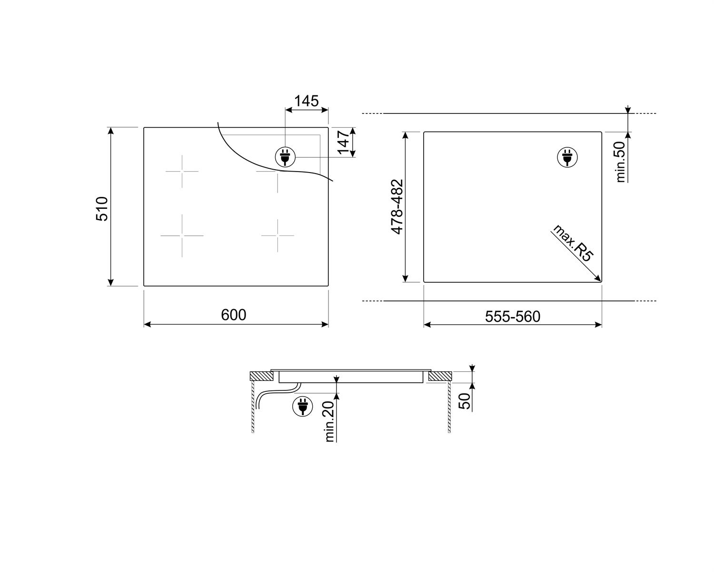 Maattekening SMEG kookplaat inductie inbouw SI4642B