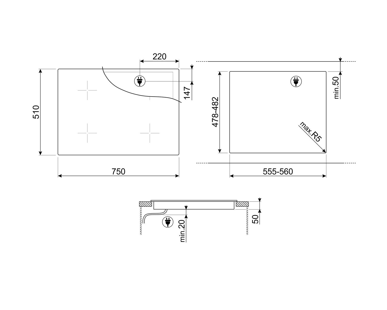 Maattekening SMEG kookplaat inductie inbouw SI4742D