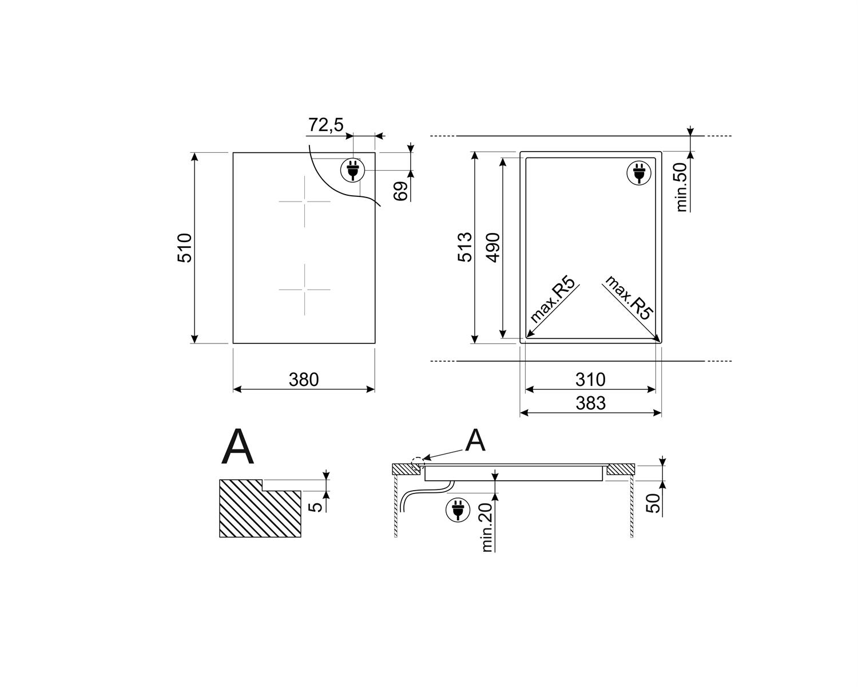 Maattekening SMEG kookplaat inductie inbouw SIM631WLD