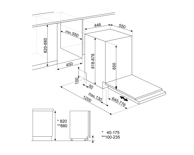 Maattekening SMEG vaatwasser inbouw smal ST4522IN