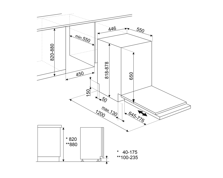 Maattekening SMEG vaatwasser inbouw ST4523IN
