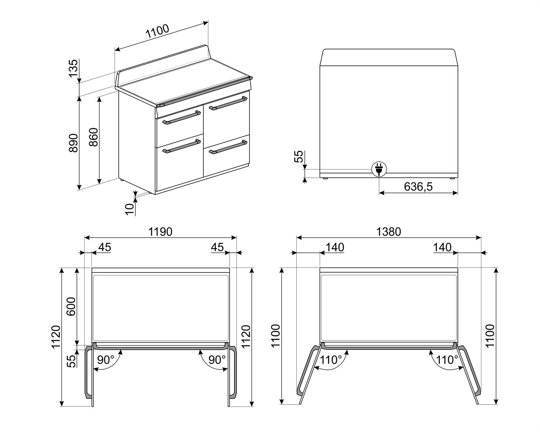 Maattekening SMEG fornuis inductie lei grijs TR4110IGR