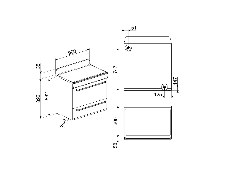 Maattekening SMEG fornuis inductie leigrijs TR90IGR
