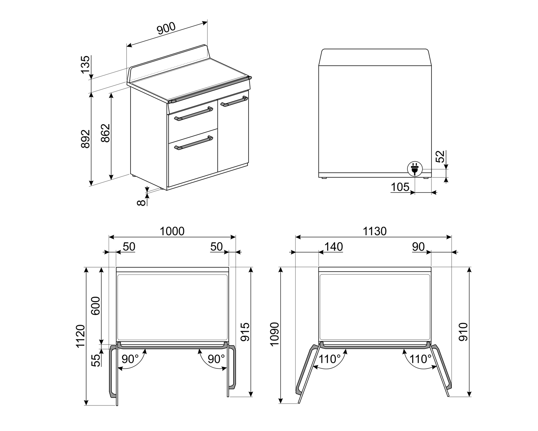 Maattekening SMEG fornuis inductie grijs TR93IGR