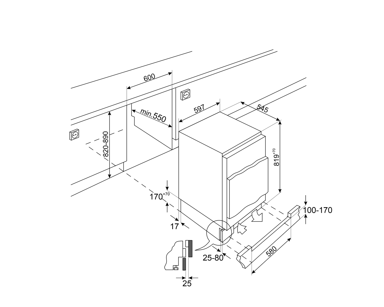 Maattekening SMEG koelkast onderbouw U8C082DF