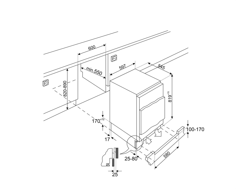 Maattekening SMEG vrieskast onderbouw U8F082DF1