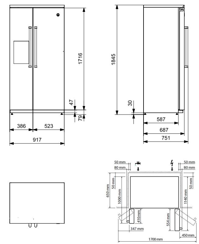 Maattekening STEEL Amerikaanse koelkast EFR-9 NF