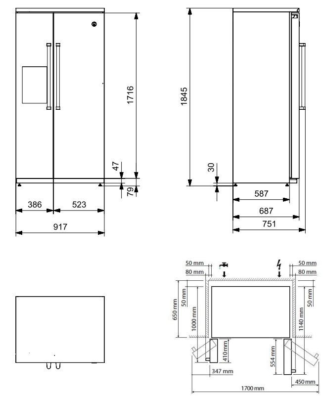 Maattekening STEEL Amerikaanse koelkast EFR-9 RVS
