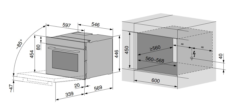 Maattekening V-ZUG oven inbouw Combair V2000 45 platinum