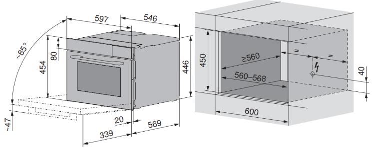 Maattekening V-ZUG oven inbouw Combair V2000 45 zwart glas