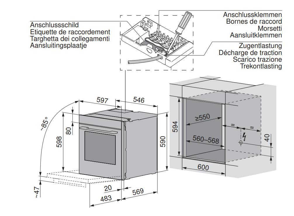 Maattekening V-ZUG oven inbouw Combair V2000 60 zwart glas