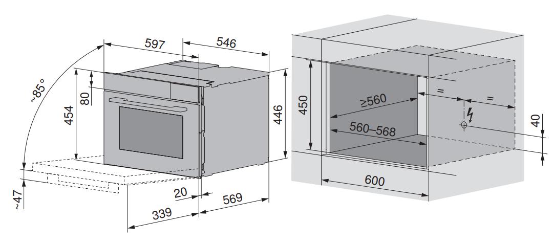 Maattekening V-ZUG oven inbouw Combair V4000 45P zwart glas
