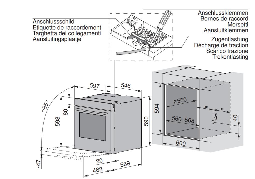 Maattekening V-ZUG oven inbouw Combair V4000 60P platinum