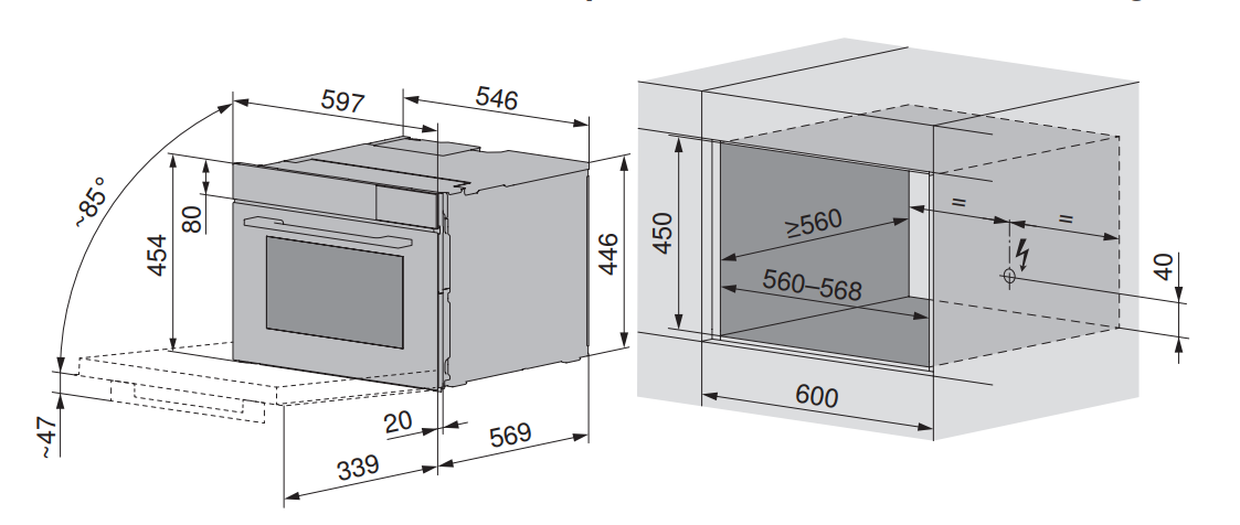 Maattekening V-ZUG oven inbouw Combair V6000 45P AutoDoor platinum