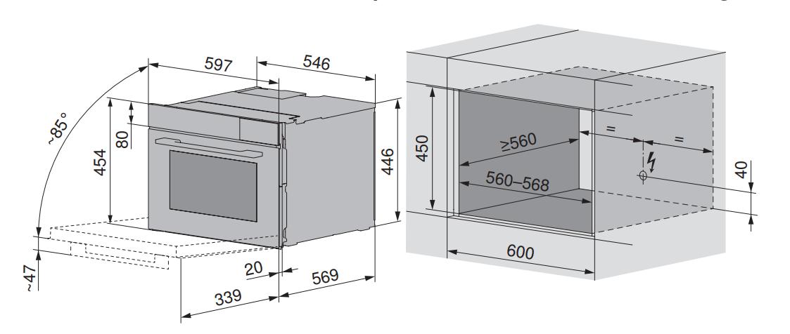 Maattekening V-ZUG oven inbouw Combair V6000 45 AutoDoor platinum