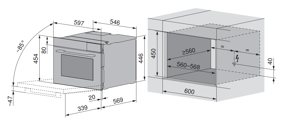 Maattekening V-ZUG oven inbouw Combair V6000 45 platinum