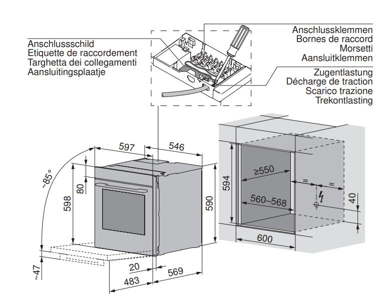 Maattekening V-ZUG oven inbouw Combair V6000 60 AutoDoor zwart glas