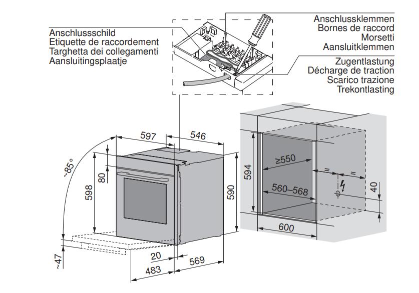 Maattekening V-ZUG oven inbouw Combair V6000 60 zwart glas