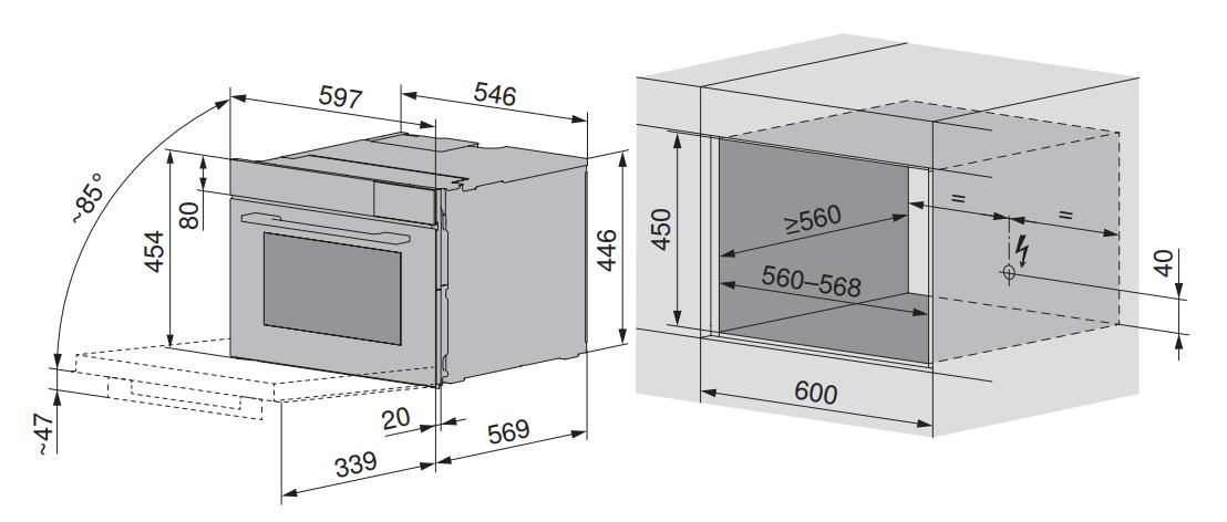 Maattekening V-ZUG combi-stoomoven inbouw CombiSteamer V4000 45 zwart glas