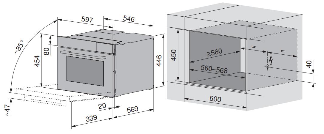 Maattekening V-ZUG combi-stoomoven inbouw CombiSteamer V6000 45F AutoDoor zwart glas