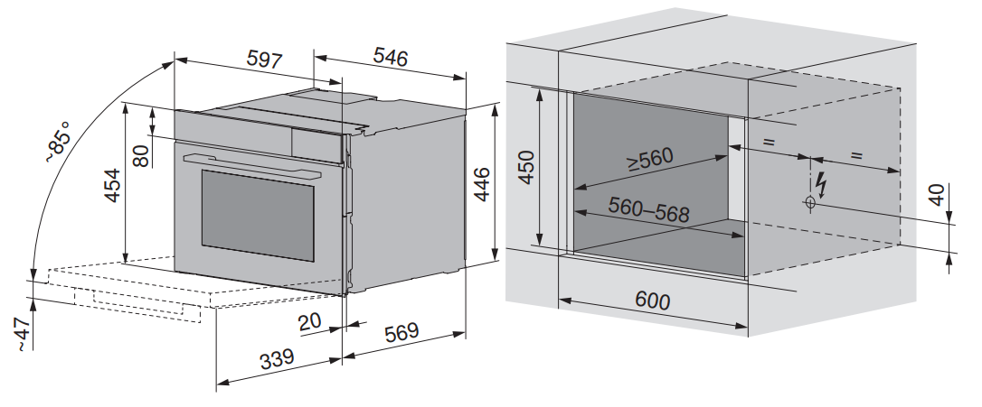 Maattekening V-ZUG combi-stoomoven inbouw CombiSteamer V6000 45F zwart glas