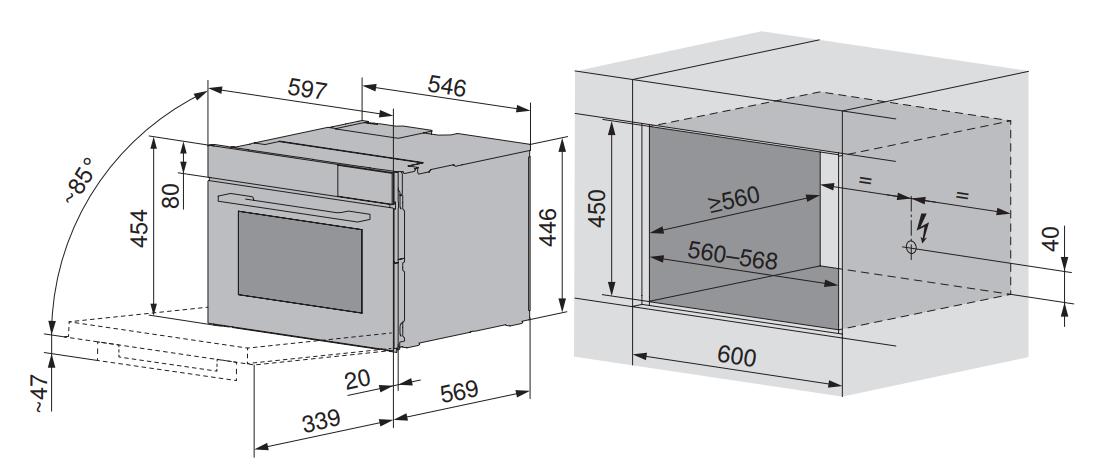 Maattekening V-ZUG combi-stoomoven inbouw CombiSteamer V6000 45 zwart glas