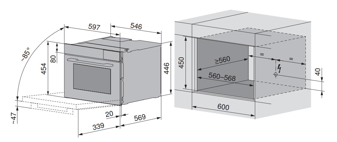 Maattekening V-ZUG stoomoven inbouw Steamer V4000 45 zwart glas