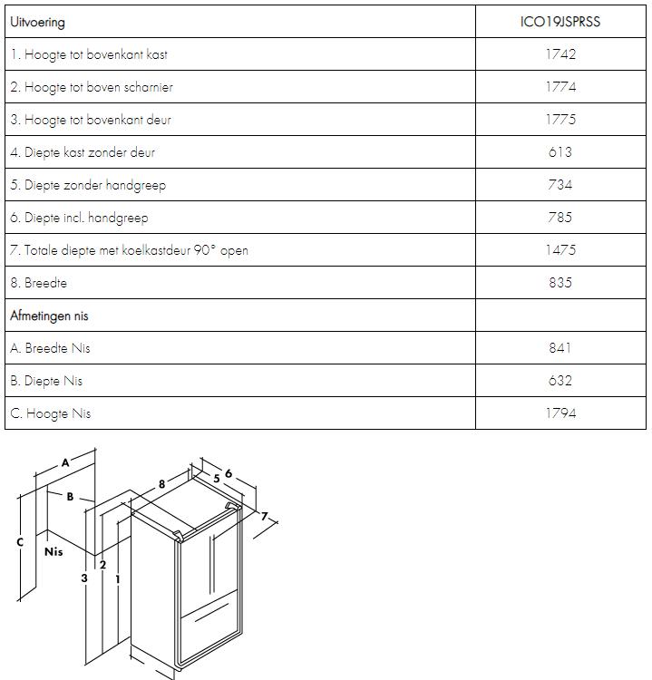 Maattekening IOMABE Amerikaanse koelkast ICO19JSPRSS