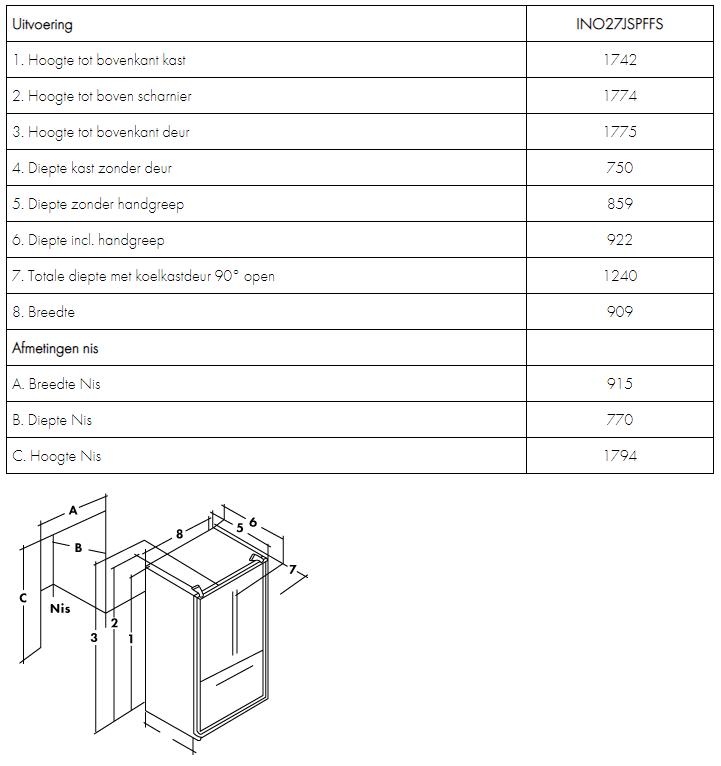 Maattekening IOMABE Amerikaanse koelkast INO27JSPFFS