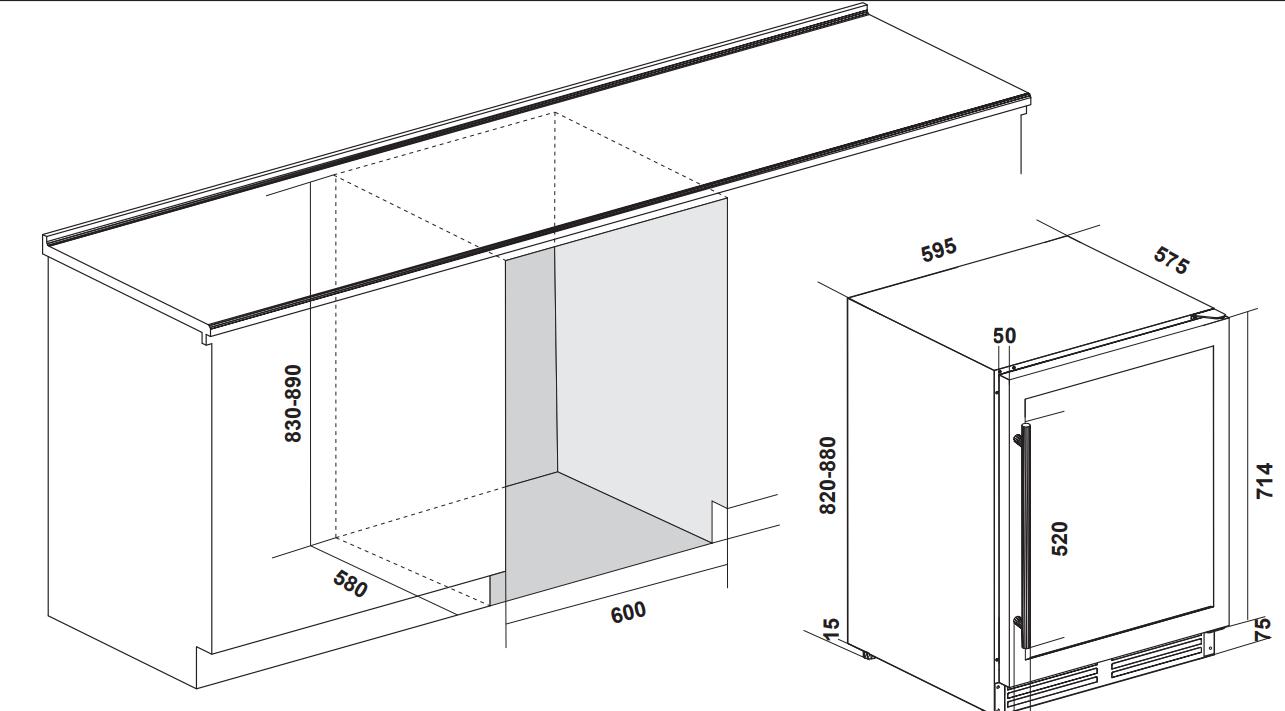 Maattekening IOMABE koelkast onderbouw zwart IOB150BB-BG