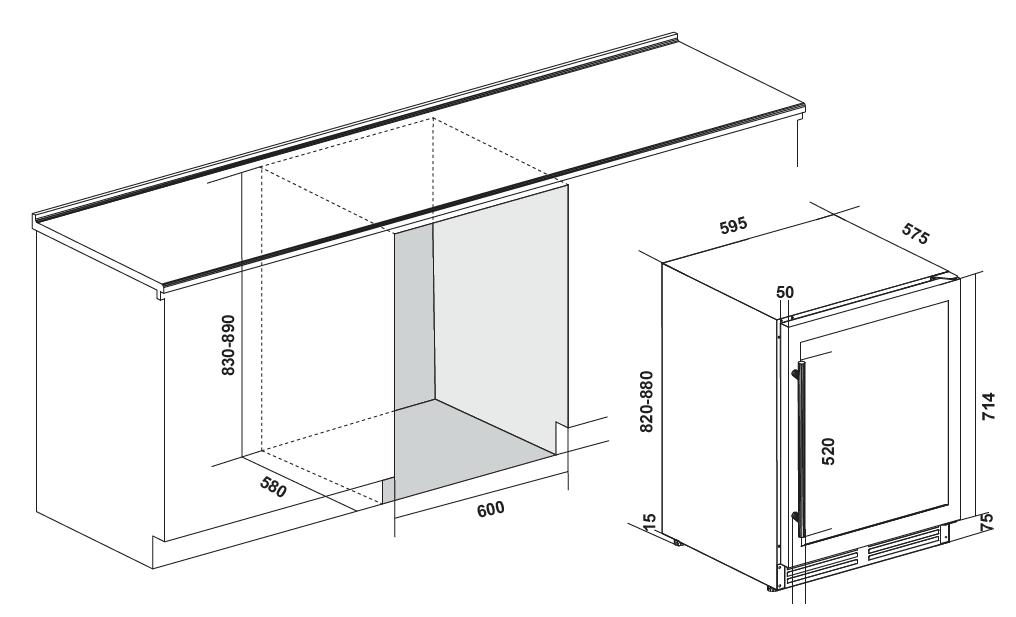 Maattekening IOMABE wijnkoelkast onderbouw zwart IOW150DDBB-BG
