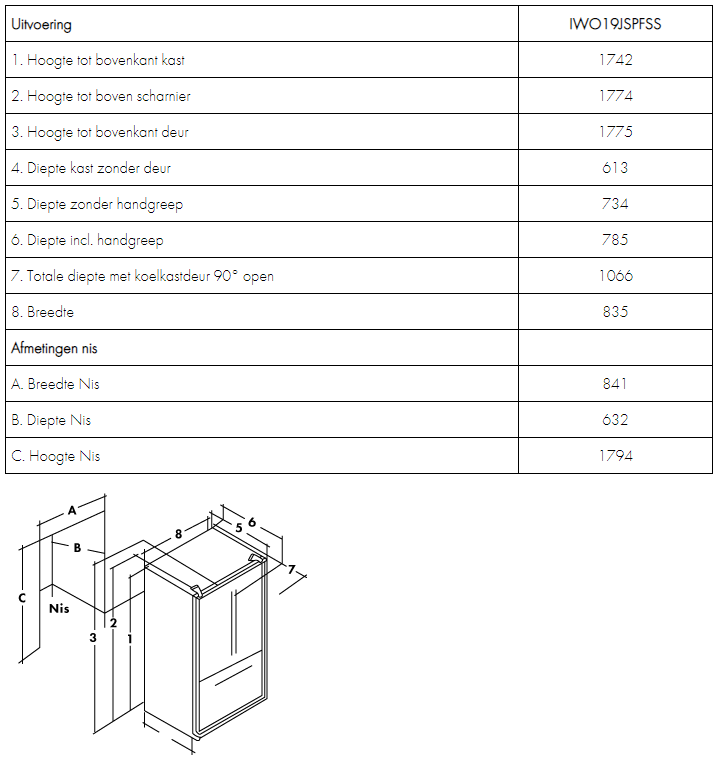 Maattekening IOMABE Amerikaanse koelkast IWO19JSPFSS
