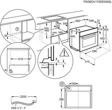 Afmetingen AEG oven inbouw rvs KPE748280M