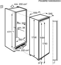 Maattekening AEG vrieskast inbouw ABE818F6NC