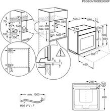 Maattekening AEG oven inbouw zwart BEE435060B