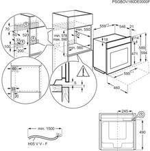 Maattekening AEG oven inbouw rvs BSE798280M