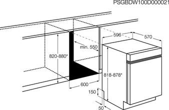 Maattekening AEG vaatwasser onderbouw F56302UM0
